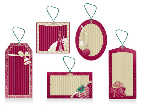 A set of Christmas red labels from kraft recycled paper  Vector