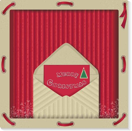 Christmas background with letter on recycled kraft paper
