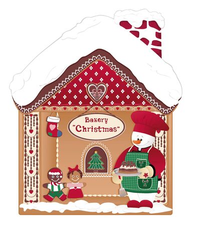 Happy Christmas Cook Bakery House with Snowman and Gingerbread Cookies.