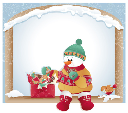 Christmas background. Box with cookies. Snowman and bird eating.