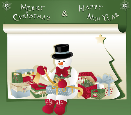Happy Snowman opening a gift. Merry Christmas and Happy New Year. Illustration