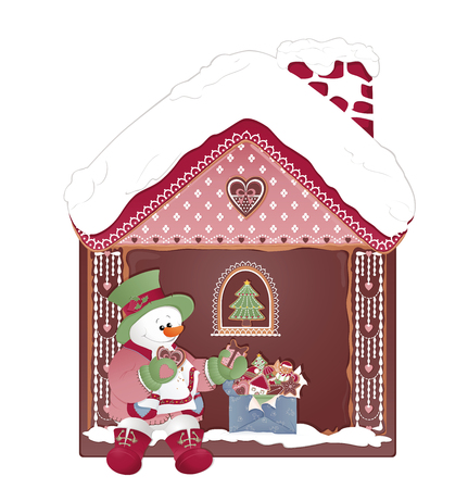 Christmas Gingerbread House and Box with ginger cookies. Snowman eating cookies.