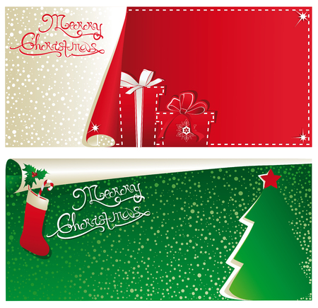 Christmas red and green banners.
