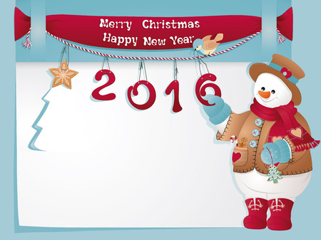 Funny Christmas card with Snowman. Merry Christmas and Happy New Year. Illustration