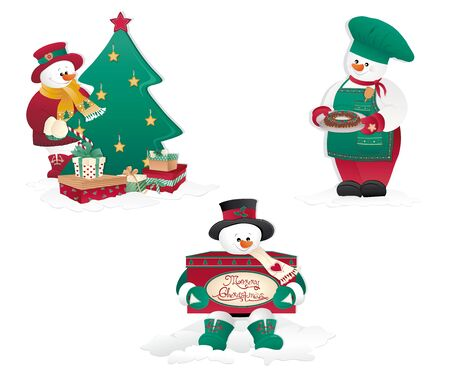 Christmas Snowmans differents isolated in white.