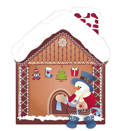 Christmas ginger house. Happy Snowman opening a gift.