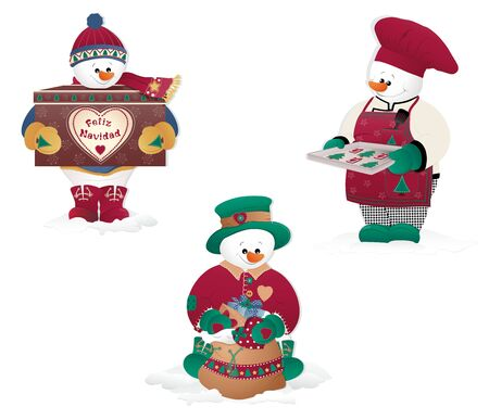 snowman isolated: Christmas Snowman isolated in white. Gifts, cookies. Illustration