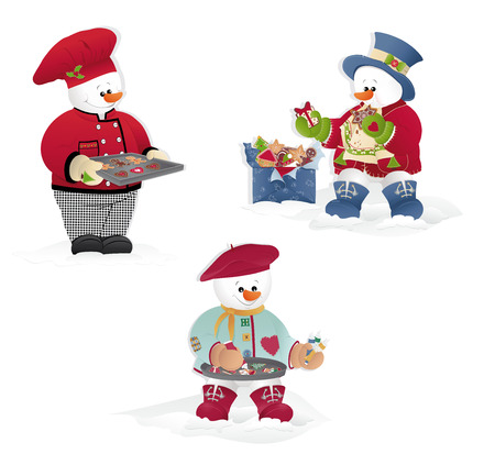 Isolated Christmas Snowman- cooking, painting cookies eating.