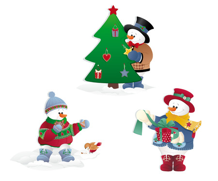 Isolated Christmas Snowman with gift, tree and bird.