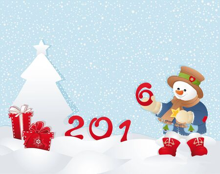 Happy new year background with Snowman. Gifts, tree, snow.
