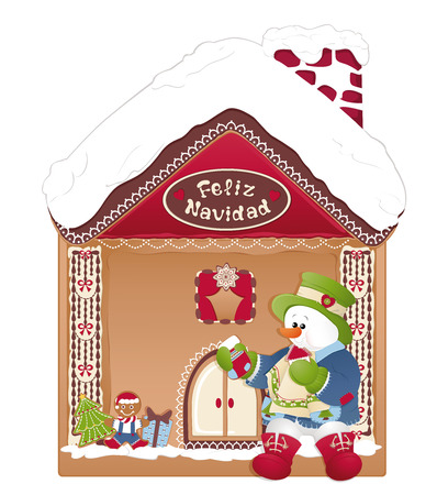 Christmas Gingerbread House. Snowman eating cookies.