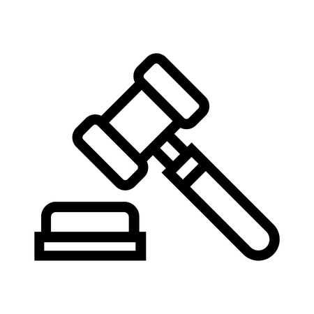 Auction hammer line vector icon. Linear style sign and symbol of a judge gavel and a sounding block. Illustration