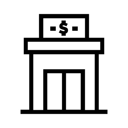 Simple pixel style line icon of a bank. Dollar symbol on a signage above a store linear vector illustration.