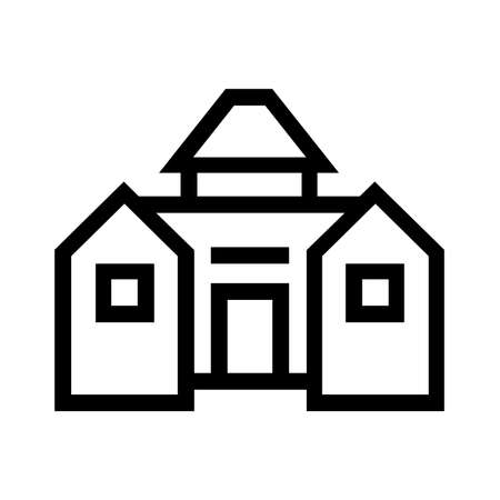 Barn line icon, outline vector sign, linear style pictogram on white background. Illustration