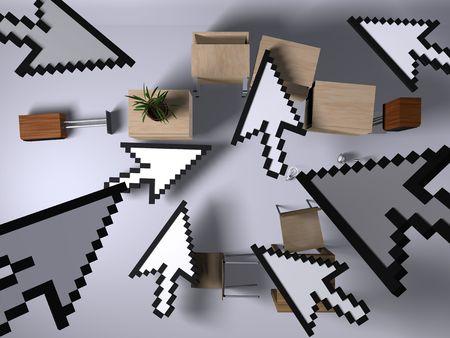 invasion: Invasion des curseurs 3D Banque d'images