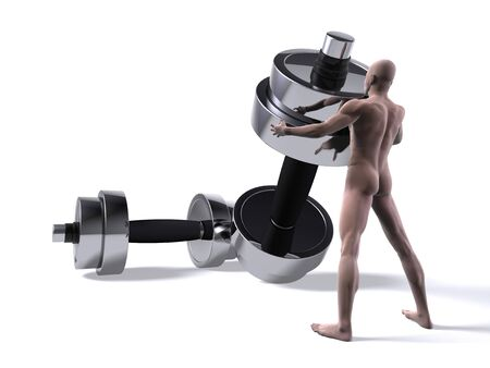 Computer generated nude man lifting a dumbbell Stock Photo
