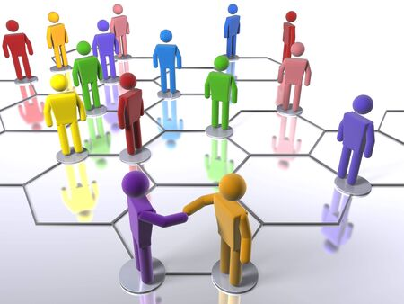 Rainbow business network model Stock Photo