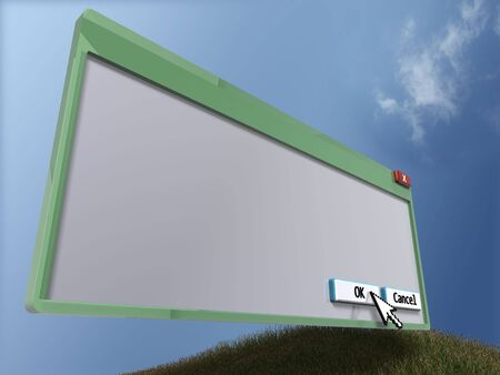 3D query window - perspective view (with copyspace) Stock Photo