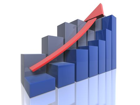 Bar graphs - Ascending - perspective view Stock Photo