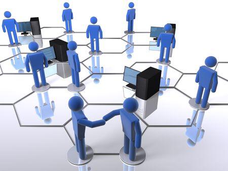通信: 人とコンピューターとビジネス ネットワーク 写真素材