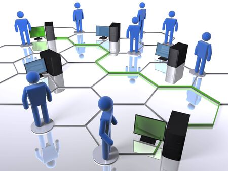 Connecting computers on a business network Stock Photo