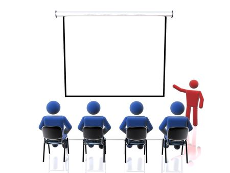 3D figure giving a presentation at a conference meeting