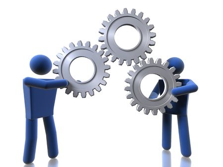 3D figures carrying cogs Stock Photo
