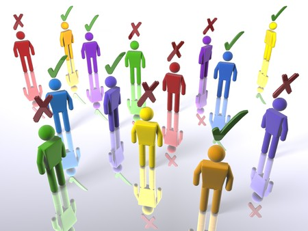 A group of voters with ticks or X's - emphasis on diversity