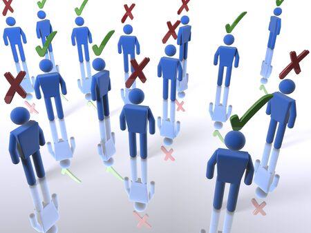 adverso: Un grupo de votantes con garrapatas o x
