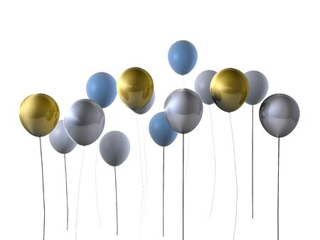 silver: Party balloons in gold and silver Stock Photo