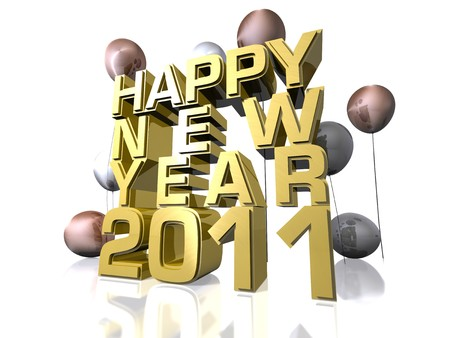 Happy New Year 2011 in gold text and balloons Stock Photo