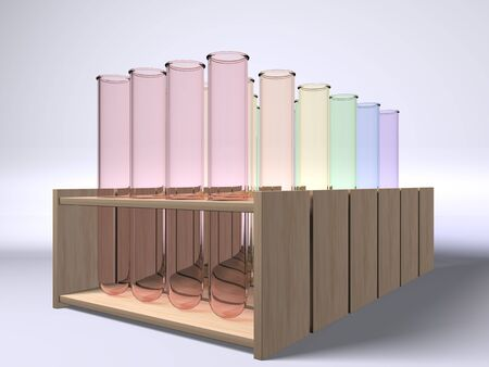 A set of multi colour test tubes on racks
