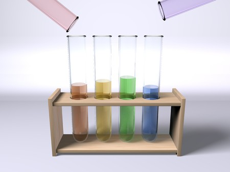 Mixing chemicals - a set of multi colour test tubes on a rack Stock Photo
