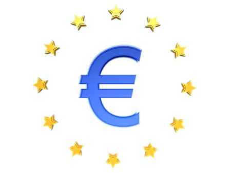 The Euro sign € in blue with EU stars Stock Photo