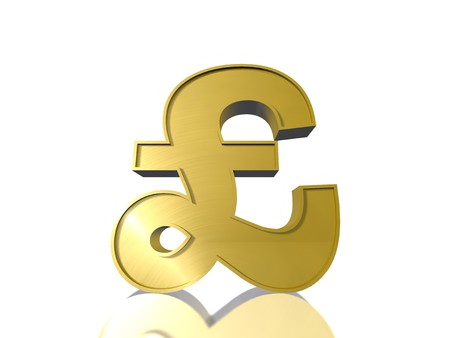 The Pound sign £ in gold Stock Photo