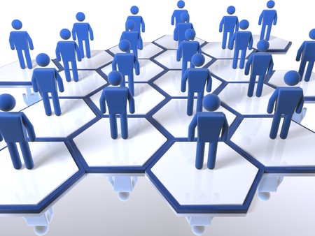 3D figures standing in cells as part of a model of a team Stock Photo