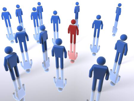locating: 3D figure standing out from a crowd Stock Photo