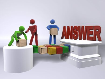 A team collaborating to reach answers Stock Photo - 8107869
