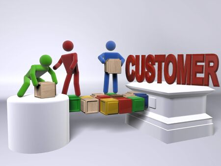 A team collaborating to reach to the customers Stock Photo