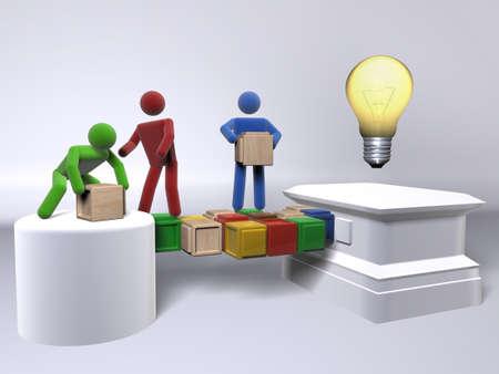 A team collaborating to reach an idea