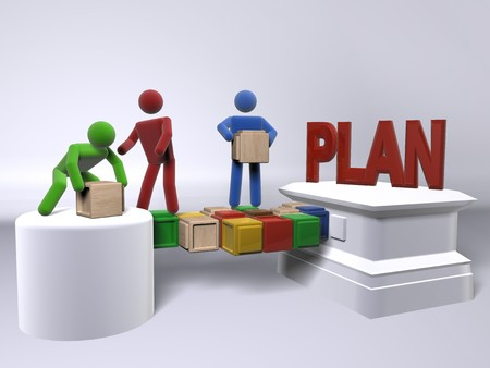 A team collaborating to build a plan Stock Photo
