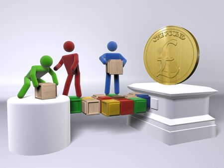 A team collaborating to reach the British Pound £