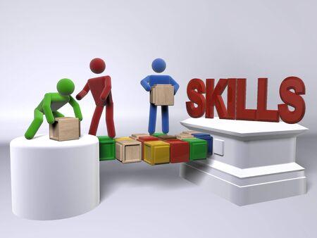 Een team samen te werken om te bouwen van vaardigheden Stockfoto