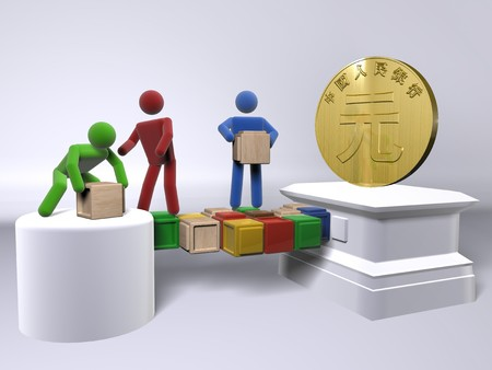 A team collaborating to reach the Chinese Yuan photo