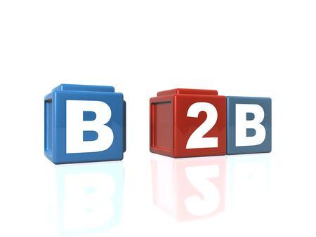 b2b: Conexi�n B2B Business-to-Business en bloques de construcci�n  Foto de archivo