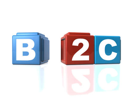 Connecting B2C Business-to-Customers with building blocks Stock Photo