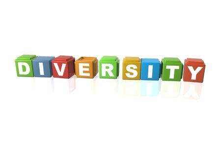 Multi colour building blocks spelling out DIVERSITY