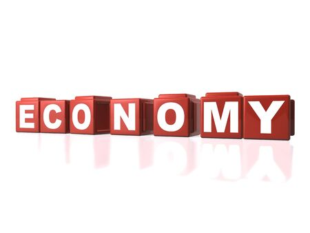 Red building blocks spelling out ECONOMY
