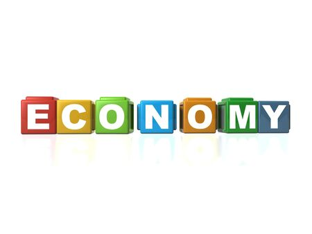 Multi colour building blocks spelling out ECONOMY Stock Photo