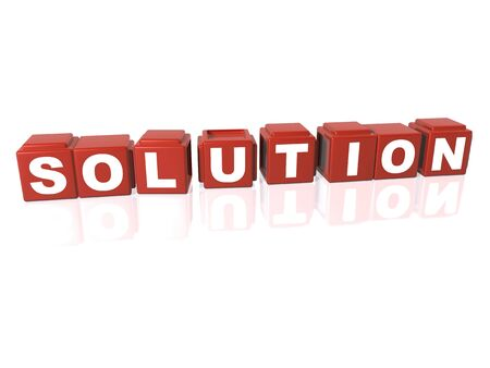 Red building blocks spelling out SOLUTION Stock Photo